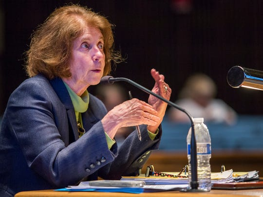 County Councilwoman Janet Kilpatrick speaks during a County Council meeting on April 28. She questions the use of county parkland trust funding for a new stock exchange proposed in Wilmington.