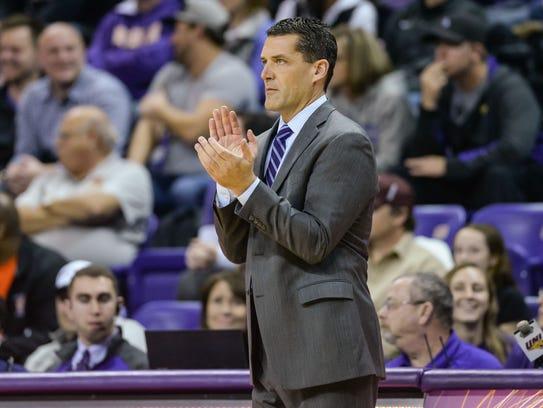 Northern Iowa basketball coach Ben Jacobson reacts