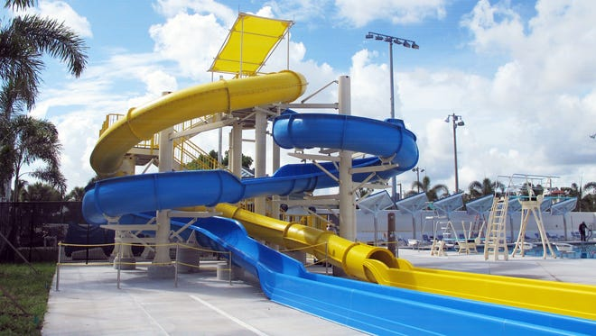 Water slides in the new aquatic center at Eagle Lakes Community Park on U.S. 41 East.