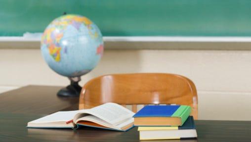 Teacher's desk in classroom