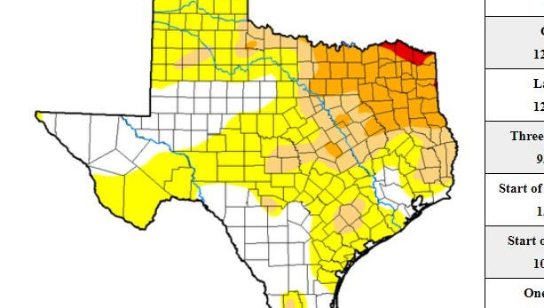 About 35 percent of Texas counties are currently under abnormally dry conditions, according to the Drought.Gov website.