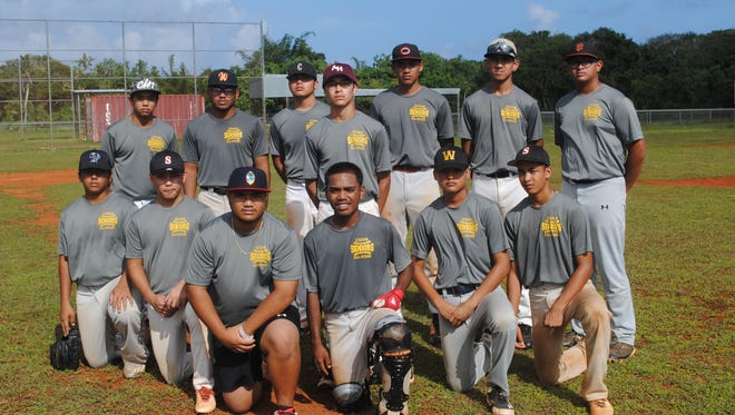 Guam's Senior Little League All-Stars are, front, from left: Jayce Concepcion, Koby Pocaigue, Rico Castro, Kessler Tudong, Rodney Raguindin and Jonah Peredo. Standing from left, are Jaron Gumataotao, Manuel Babauta, Johnny Cruz, Gavin Lim, Aiden McDonald, Ethan Lizama, and Noah Pereda. Not pictured are Ethan Lobaton and Ethan Palma.