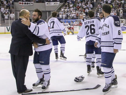 Ice Flyers coach Rod Aldoff, shown celebrating the 2016 SPHL President's Cup championship with players, opted not to return this season after coming back in February to take over the team.