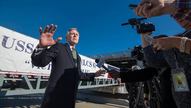Secretary of the Navy Ray Mabus speaks to reporters before ceremonies to commission the USS Jackson at the Port of Gulfport on Saturday.