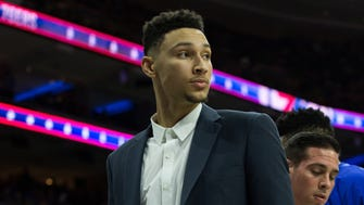 Philadelphia 76ers forward Ben Simmons on the players bench during the second quarter against the Toronto Raptors at Wells Fargo Center.