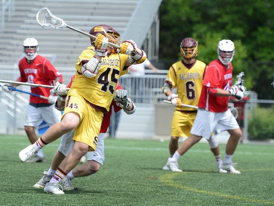 Salisbury's Nick Garbarino fires a shot on goalagainst Denison University during the NCAA Division III Semifinals at Seagull Stadium on Sunday, May 21, 2017.