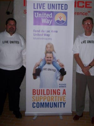 Dave Hodorff, left, vice president of operations for Wabash National Tank Trailer Division, and Rick Parks, president and CEO of Society Insurance, are teaming up for the 2015 Fond du Lac Area United Way campaign.