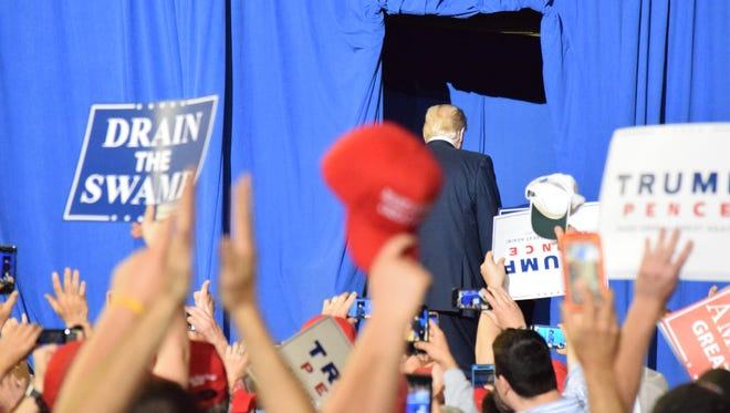 President Donald Trump spent his 100th day in office holding a campaign-style rally at the Harrisburg Farm Show Complex and Expo Center on Saturday, April 29, 2017. Trump bashed the media and called for legislators to push through his agenda. Jason Addy photo.
