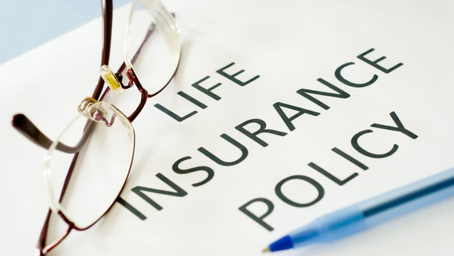 insurance policy on blue background