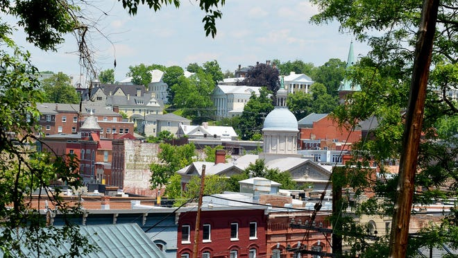 View of downtown Staunton from Sears Hill.