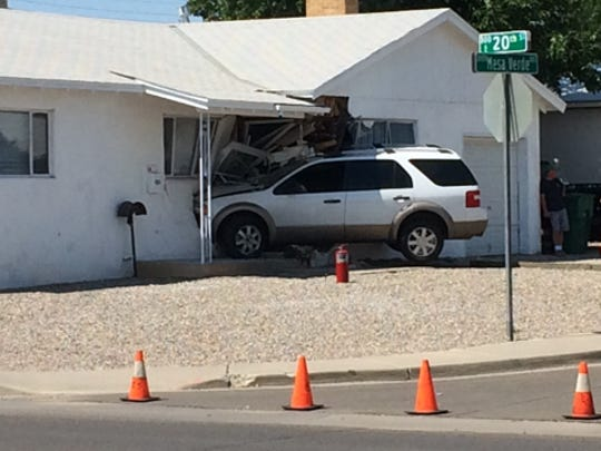Police on Saturday responded to a report of a vehicle crashing into a home on 20th Street and East Mesa Verde Avenue in Farmington. Charlene Saunders 33, was arrested on suspicion of driving while intoxicated in connection to the crash.