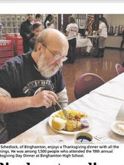 John Schedlock was one of 1,500 who enjoyed a meal at Binghamton High School in 2013.