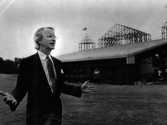 Michael Graves, designer of the new Riverbend concert center facility in Cincinnati, talks about his design concept with reporters at a press conference Wednesday, June 27, 1984.