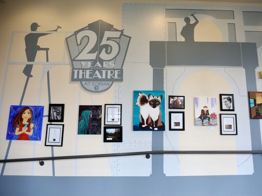 "A mural commemorates 25 years of theater at Corban University in the hallway of the Psalm Performing Arts Center. The theater's mission statement begins, ""Corban theatre strives to worship God by presenting stories that justly depict God, truth, the human condition, healthy and unhealthy relationships, good and evil."""