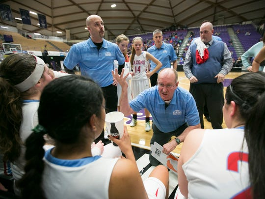 South Salem coach  Nick McWilliams talks to the team before the start of the fourth quarter against Oregon City in the first round of the OSAA Class 6A state tournament on Wednesday, March 9, 2016, at the University of Portland. South Salem defeated Oregon City 46-30.