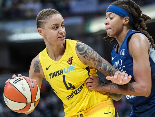 Indiana Fever forward Candice Dupree (4) and Minnesota Lynx guard Seimone Augustus (33) during Indiana Fever vs. Minnesota Lynx at Banker's Life Fieldhouse in Indianapolis, Wednesday, July 11, 2018