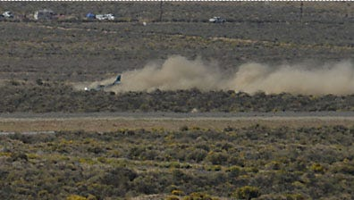 RGJ photojournalist Marilyn Newton took this photo of a sport plane that caught fire while flying Sunday in the Reno Air Races. This photo was taken as the plane was landing.