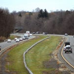Oncoming northbound traffic makes its way up the New York State Thruway in this file photo.