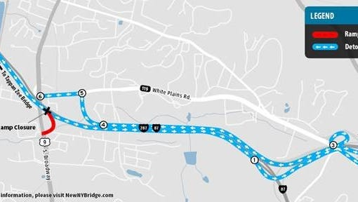 Paving work in Tarrytown will close the southbound Exit 9 off-ramp from 10 p.m. Thursday to 4:30 a.m. Friday. Drivers will have to take a detour to return to Routes 9 and 119.