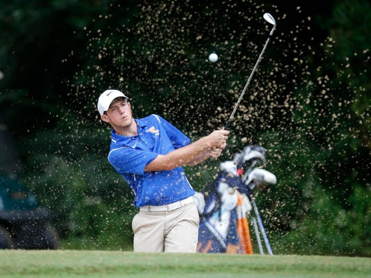 Cole Wentworth of Taylor County High School  hits from the sand trap during the Big Bend Championship at the Capital City Country Club on Wednesday.