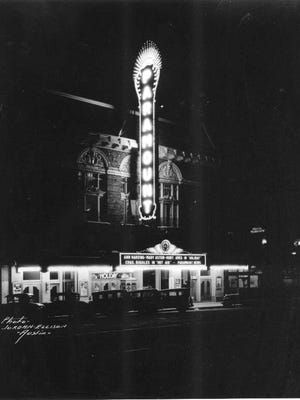 An old photo of the Paramount Theatre.
