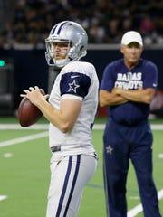 Cowboys quarterback Cooper Rush at practice in Frisco, Texas on Aug. 22, 2017.