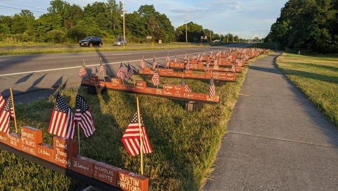 The Cobblestone Arts Center in Farmington creates a memorial featuring the names and ranks of nearly 300 veterans from New York state who gave their lives serving in the Iraq and Afghanistan wars. All are encouraged to visit, pay their respects, and/or leave flowers and personal messages.