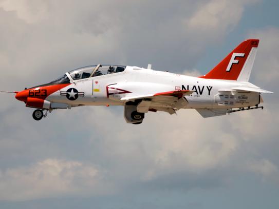 A T-45 Goshawk flies at Pensacola Naval Air Station
