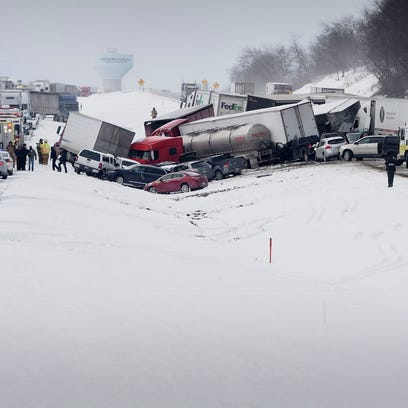 More than 30 cars were involved in a pile up on Interstate