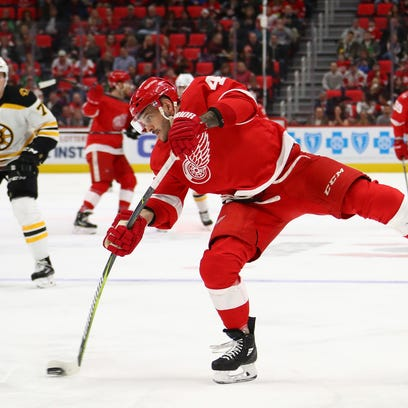 Martin Frk #42 of the Detroit Red Wings takes a second