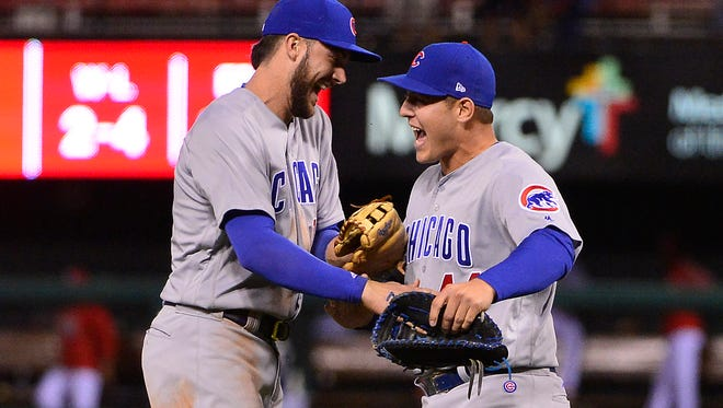Kris Bryant and Anthony Rizzo celebrate the Cubs' 2017 NL Central title.