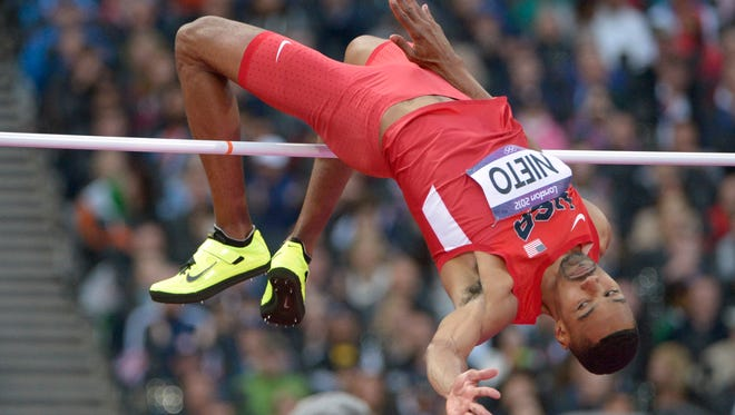 In a file photo from Aug. 7, 2012, Jamie Nieto (USA) competes in the men's high jump final during the London Olympic Games.