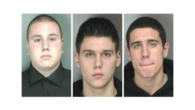 From left, Nicholas G. Kelly, Gregory A. Kwapik and Ryan A. Modaffare are facing charges in the alleged sex act involving a 15-year-old girl.