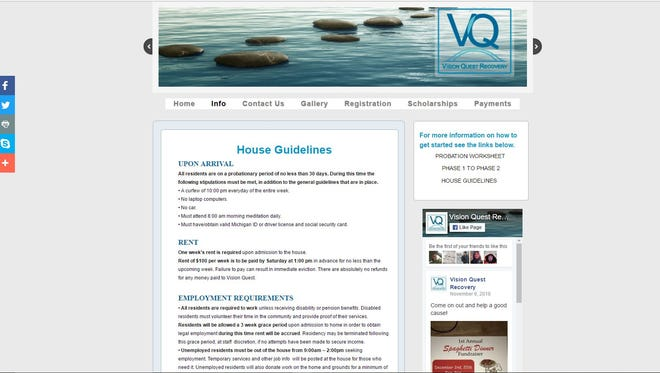 A screengrab of the Vision Quest website.