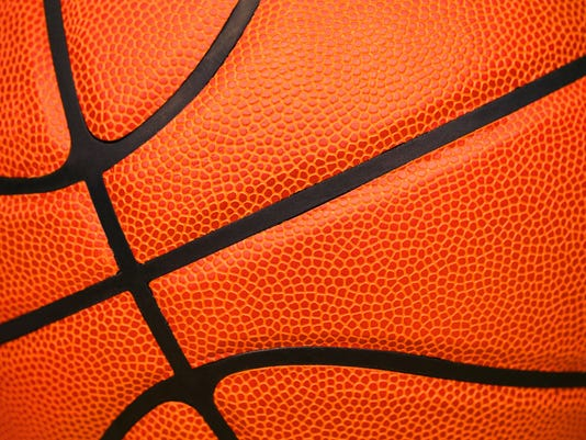 Close up of leather basketball background textured