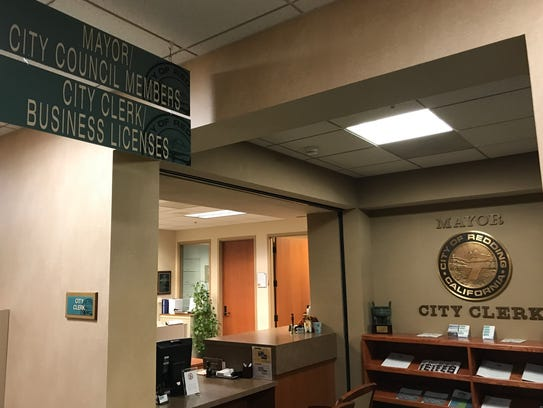 The city clerk's office at Redding City Hall was quiet