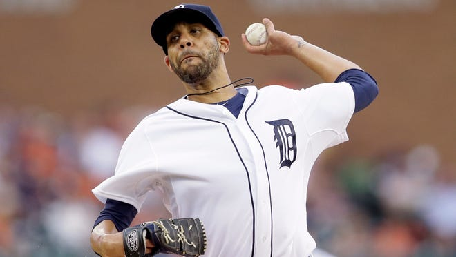 Detroit Tigers starting pitcher David Price throws during the first inning of a baseball game against the Baltimore Orioles, Saturday, July 18, 2015, in Detroit. (AP Photo/Carlos Osorio)