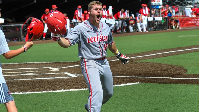 UL's Joe Robbins, shown here celebrating a run during a 2016 NCAA Regional game against Arizona, has been named to the 2017 preseason All-Sun Belt team as a utility player.