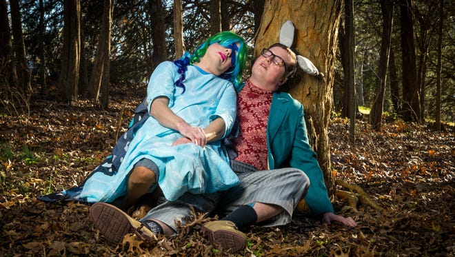 """Asa Ambrister as Titania and Taylor James Foster as Bottom in Inebriated Shakespeare's """"A Midsummer Night's Dream."""""""