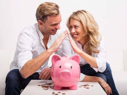 Couple saving money to buy house