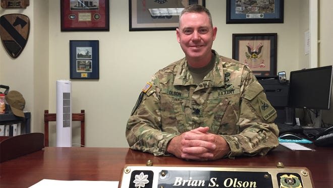 Lt. Col. Brian S. Olson led the 123rd Brigade Support Battalion for the past two years, relinquishing command on May 19.