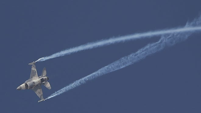 An F16 Emirati fighter jet performs during the opening day of the Dubai Air Show, United Arab Emirates on Nov. 12, 2017.