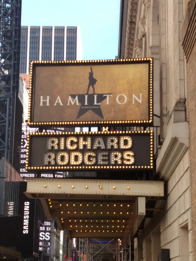 The marquee at the Richard Rodgers Theatre, home to