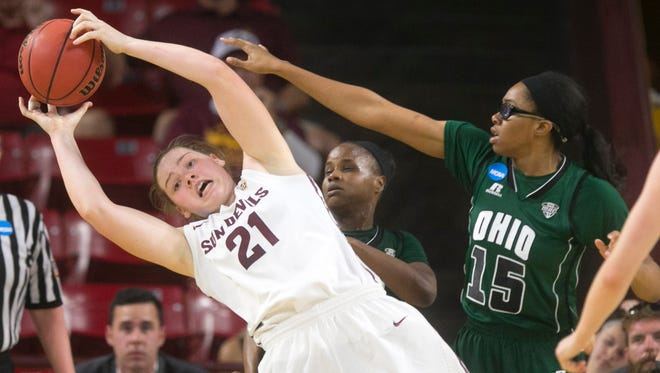 ASU forward Sophie Brunner grabs a rebound as Ohio forward Jasmine Weatherspoon defends during the second half of their NCAA Women's Tournament at Wells Fargo Arena in Tempe on Saturday, March 21, 2015. ASU won the game 74-55.