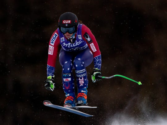 Stacey Cook goes airborne during a training session of the alpine skiing, women's World Cup downhill in Cortina d'Ampezzo, northern Italy onJan. 17