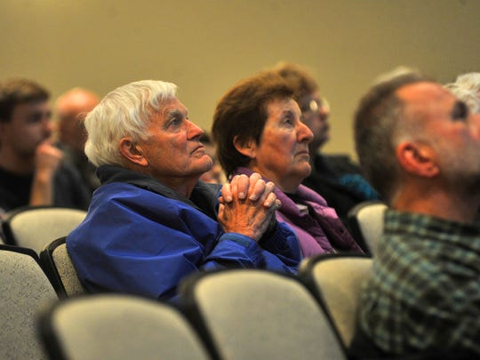 Crowd listens to the debate on city leadership Tuesday, March 17, 2015, at UW Center for Civic Engagement in Wausau.