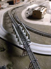 The train set diorama from the Howard Griffin Land O' Toys.