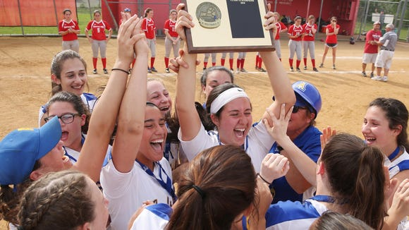 Ardsley players celebrate after defeating Tappan Zee 5-1 to win the Section 1 championship game at North Rockland High School May 26, 2018.