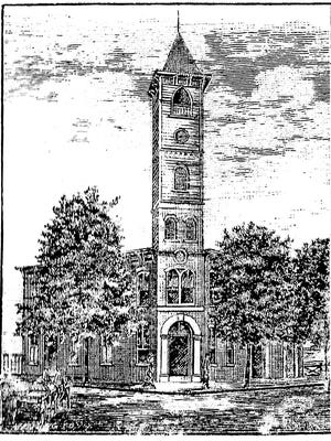 Greenville's first city hall on McBee Avenue as shown in an etching from Historical and Descriptive Review of the State of South Carolina, 1884.