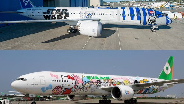 ANA's R2-D2 plane, top, and EVA's Hello Kitty plane.